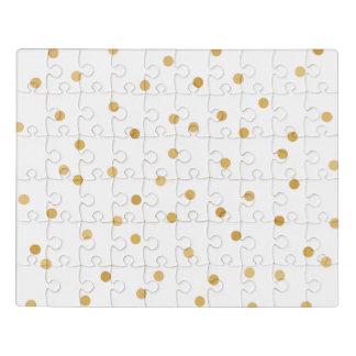 エレガントでモダンな白および金ゴールドの紙吹雪の点 ジグソーパズル