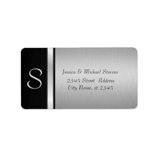 エレガントでモダンな銀製の黒いモノグラムの結婚式 宛名ラベル