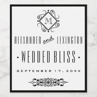エレガントでモノグラムのな結婚式のワインのラベル ワインラベル