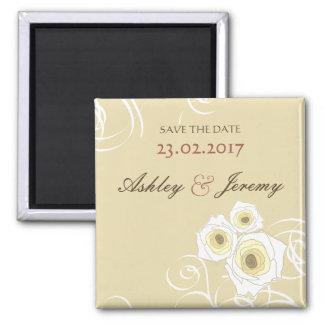 エレガントでロマンチックなクリーム色のバラは日付の磁石を救います マグネット