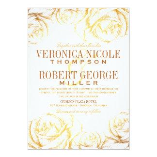 エレガントでロマンチックなバラの花柄の結婚式招待状 カード