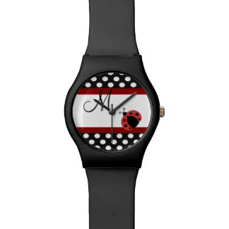 エレガントでロマンチックな水玉模様のてんとう虫のガーリーなモノグラム 腕時計
