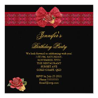 エレガントで上品で赤い誕生会の金ゴールドの黒 カード