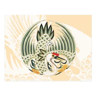エレガントで中国のな鳥の幸運の記号 ポストカード
