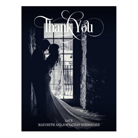 エレガントで及びモダンな写真の結婚式は郵便はがき感謝していしています ポストカード