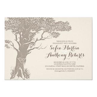 エレガントで古い木のヴィンテージの婚約パーティ カード