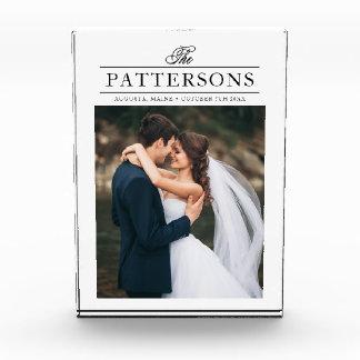 エレガントで名前入りな結婚式の写真のブロック フォトブロック