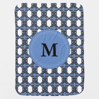 エレガントで名前入りな青の抽象芸術のオオタマオシコガネパターン ベビー ブランケット