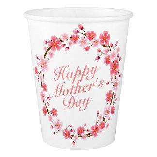 エレガントで幸せな母の日の花のリースの紙コップ 紙コップ