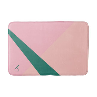 エレガントで幾何学的なパステル調ピンクのモモの緑 バスマット