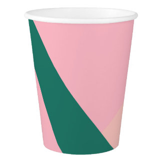 エレガントで幾何学的なパステル調ピンクのモモの緑 紙コップ