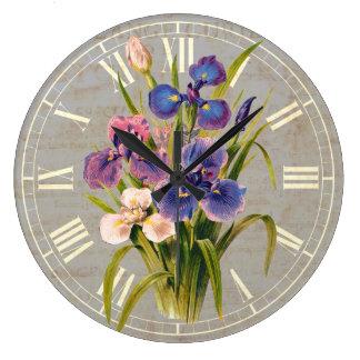 エレガントで日本のな紫色のアイリス旧式なスタイル ラージ壁時計