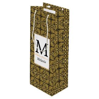 エレガントで旧式な金ビクトリアンな花模様カット ワインギフトバッグ