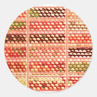 エレガントで暖かい色EggSheelsの貝、点、円 ラウンドシール
