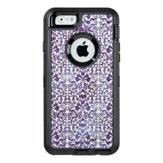 エレガントで暗い王室のな紫色のダマスク織のろうけつ染め オッターボックスディフェンダーiPhoneケース