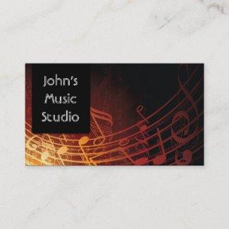 エレガントで暗い音楽ノート音楽スタジオの名刺 名刺