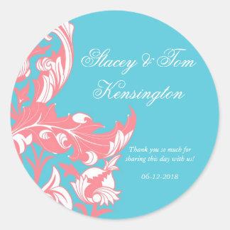 エレガントで暗く及び上品な花模様-ピンクスカイブルー ラウンドシール