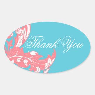 エレガントで暗く及び上品な花模様-ピンクスカイブルー 楕円形シール