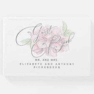 エレガントで柔らかいピンクの花のタイポグラフィの結婚 ゲストブック
