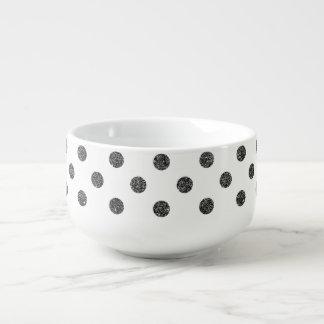 エレガントで模造ので黒いグリッターの水玉模様パターン スープマグ