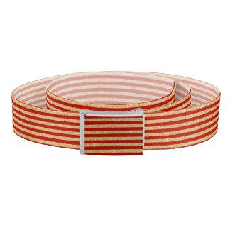 エレガントで模造のな金ゴールドのグリッターおよび赤のストライプなパターン ベルト