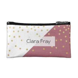 エレガントで模造のな金ゴールドのグリッターの水玉模様の挨りだらけのピンク コスメティックバッグ