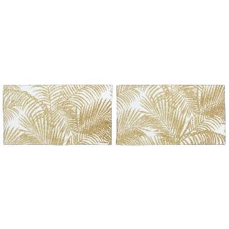 エレガントで模造のな金ゴールドのグリッターの熱帯植物パターン 枕カバー