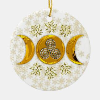 エレガントで模造のな金ゴールドの三倍の月三重の銀製の螺線形 セラミックオーナメント