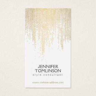 エレガントで模造のな金ゴールドの紙吹雪のドット・パターン 名刺