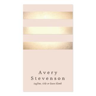 エレガントで模造のな金ゴールドホイルのストライプのでモダンな淡いピンク スタンダード名刺