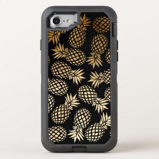 エレガントで模造のな金ゴールドホイルの熱帯パイナップルパターン オッターボックスディフェンダーiPhone 8/7 ケース