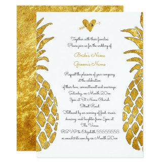 エレガントで模造のな金ゴールドホイルの熱帯夏の結婚式 カード