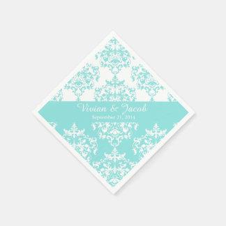エレガントで淡い色のなターコイズのダマスク織の結婚式のナプキン スタンダードカクテルナプキン