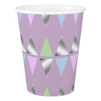 エレガントで澄んで模造のな銀製の幾何学的な三角形 紙コップ