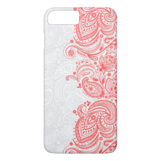 エレガントで珊瑚赤く及び白い花のペイズリーのレース iPhone 8 PLUS/7 PLUSケース
