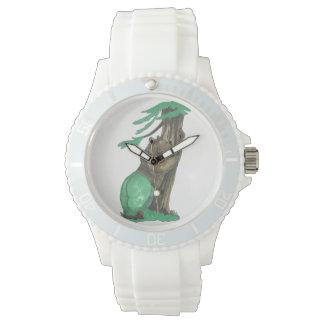 エレガントで白いケイ素の愛らしい木のHuggerくま 腕時計