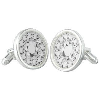 エレガントで白いダイヤモンドのグリッター カフリンク