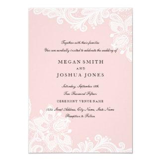 エレガントで白いモモのピンクのレースの結婚式招待状 カード
