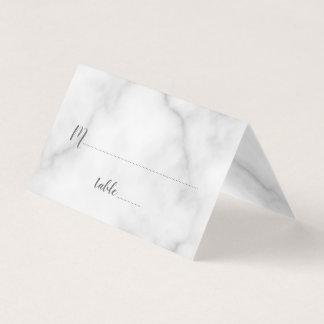エレガントで白い大理石の結婚式 プレイスカード