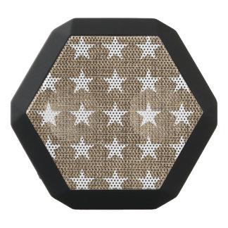 エレガントで白い星およびバーラップパターン ブラックBluetoothスピーカー