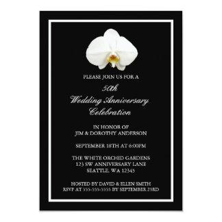 エレガントで白い蘭第50の結婚記念日 12.7 X 17.8 インビテーションカード