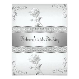 エレガントで白い銀製の宝石の第21誕生日の花柄 カード