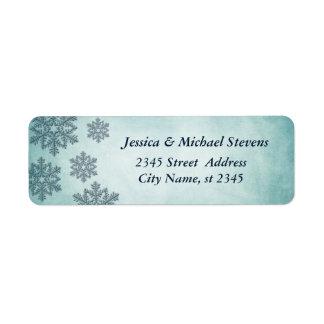 エレガントで粋な休日のクリスマスの雪片のヴィンテージ 返信用宛名ラベル