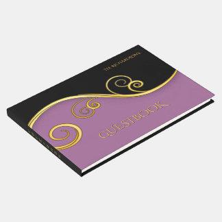 エレガントで紫色黒いゲストブック ゲストブック