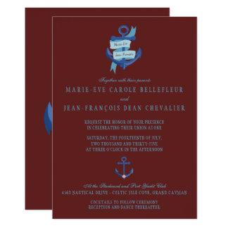 エレガントで航海ので青いいかりの行先の結婚式 12.7 X 17.8 インビテーションカード