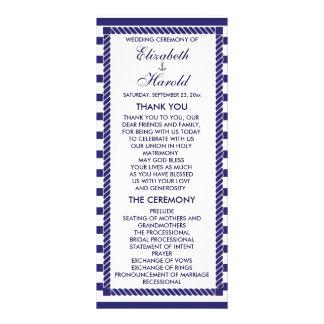 エレガントで航海のな結婚式海軍ストライプなプログラム・カード ラックカードテンプレート