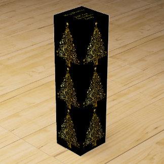 エレガントで装飾的で黒い金ゴールドのメリークリスマスの木 ワインギフトボックス