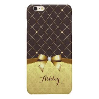 エレガントで贅沢なブラウンの金リボンのダマスク織のダイヤモンド 光沢iPhone 6 PLUSケース