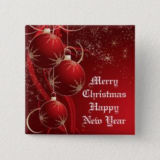 エレガントで赤いクリスマス 5.1CM 正方形バッジ