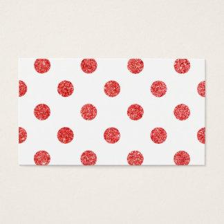 エレガントで赤いグリッターの水玉模様パターン 名刺